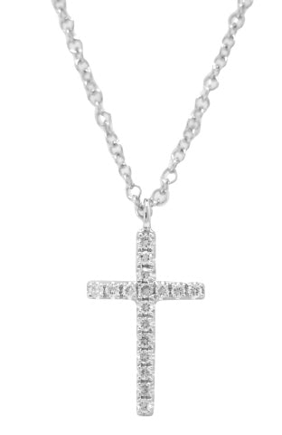 14KT WHITE GOLD DIAMOND CROSS PENDANT WITH CHAIN.
