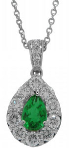 18KT WHITE GOLD EMERALD AND DIAMOND PENDANT WITH CHAIN.