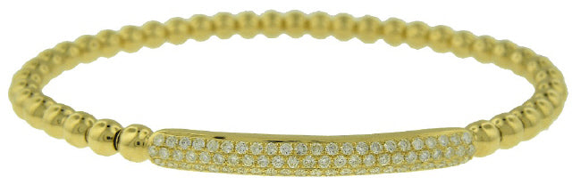 18KT YELLOW GOLD BEAD STYLE FLEXIBLE DIAMOND BRACELET