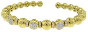 18KT YELLOW GOLD BEAD STYLE DIAMOND BANGLE BRACELET.