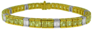 18KT TWO-TONE BAGUETTE AND CUSHION YELLOW DIAMOND BRACELET