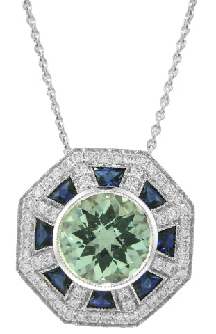 18KT WHITE GOLD AQUA, SAPPHIRE AND DIAMOND PENDANT WITH CHAIN.