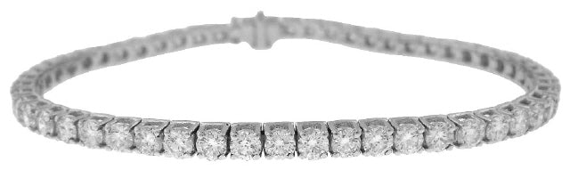 14KT WHITE GOLD 4-PRONG DIAMOND TENNIS BRACELET 3.73TW