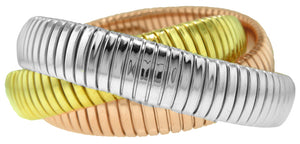 SILVER ROLLING BRACELETS PLATED TRI-COLOR