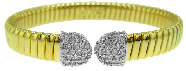 18KT TWO-TONE DIAMOND BANGLE
