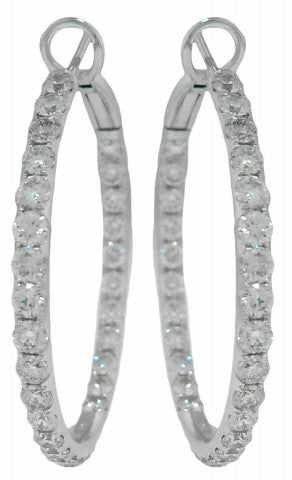 18KT WHITE GOLD INSIDE/OUTSIDE DIAMOND HOOP EARRINGS.