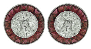 18KT WHITE GOLD RUBY AND DIAMOND EARRINGS.