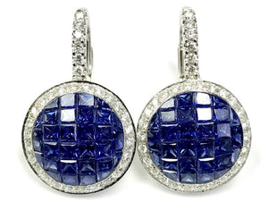 18KT WHITE GOLD INVISIBLE SET SAPPHIRE AND DIAMOND HANGING EARRINGS