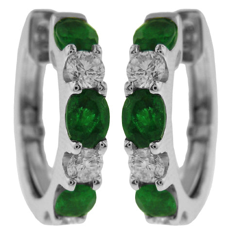 18KT WHITE GOLD EMERALD AND DIAMOND HOOP EARRINGS