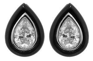 18KT WHITE GOLD BLACK AGATE AND PEAR SHAPE DIAMOND EARRINGS.
