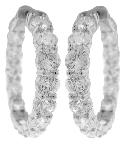 14KT WHITE GOLD INSIDE/OUTSIDE DIAMOND HOOP EARRINGS.