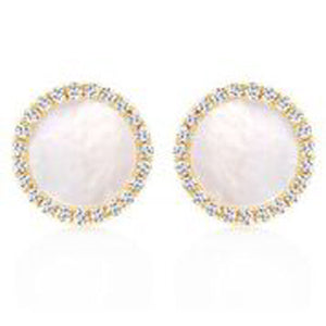 14KT YELLOW GOLD ROUND MOTHER OF PEARL AND DIAMOND EARRINGS.
