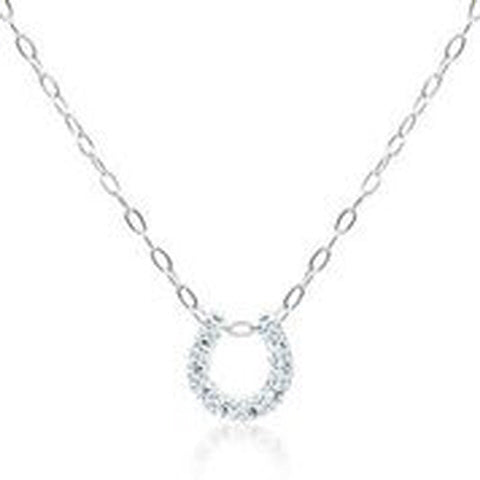 18KT WHITE GOLD DIAMOND HORSESHOE PENDANT WITH CHAIN