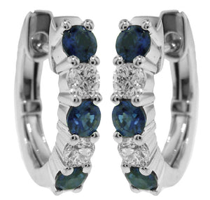 18KT WHITE GOLD SAPPHIRE AND DIAMOND HUGGIE EARRINGS
