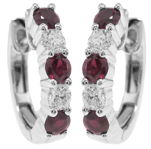 18KT WHITE GOLD RUBY AND DIAMOND HUGGIE EARRINGS