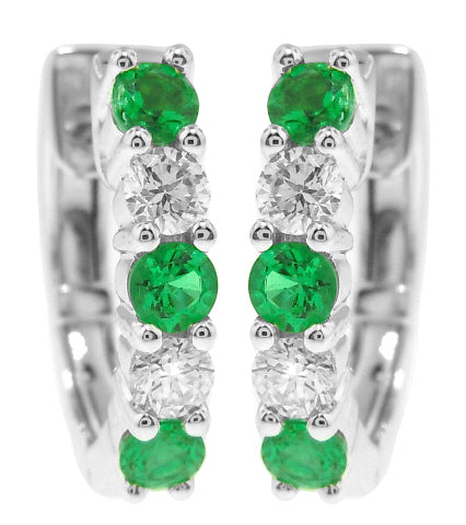 18KT WHITE GOLD EMERALD AND DIAMOND HUGGIE EARRINGS