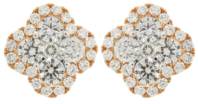 18KT ROSE GOLD CLOVER STYLE DIAMOND EARRINGS.