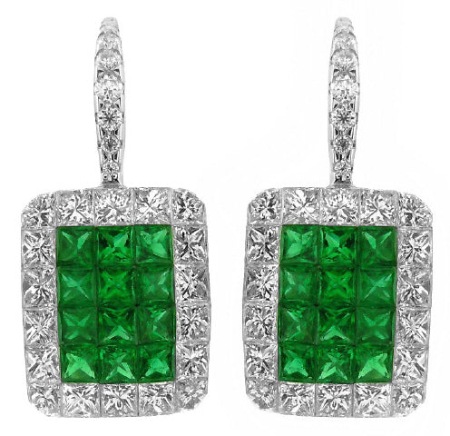 18KT WHITE GOLD INVISIBLY SET PRINCESS CUT EMERALDS AND DIAMOND HANGING EARRINGS