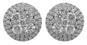 14KT WHITE GOLD FLOWER DESIGN STUD EARRINGS