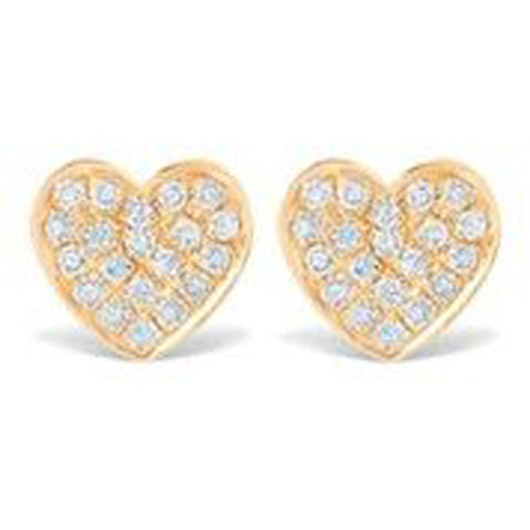 14KT YELLOW GOLD PAVE DIAMOND HEART EARRINGS