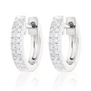 14KT WHITE GOLD DIAMOND HUGGIE EARRINGS