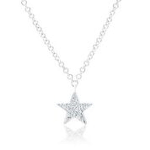14KT WHITE GOLD DIAMOND STAR PENDANT WITH CHAIN