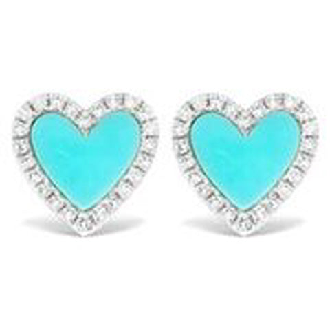 14KT WHITE GOLD DIAMOND AND TURQUOISE HEART EARRINGS