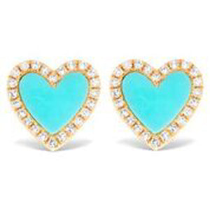 14KT YELLOW GOLD DIAMOND AND TURQUOISE HEART EARRINGS