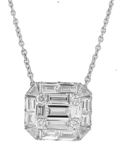 "18KT WHITE GOLD ROUND AND BAGUETTE DIAMOND PENDANT WITH 16"" CHAIN."