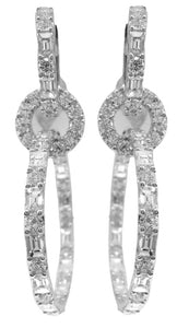 18KT WHITE GOLD DIAMOND DANGLE EARRINGS