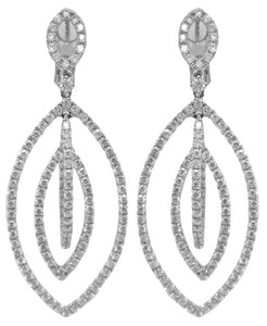18KT WHITE GOLD DIAMOND HANGING EARRINGS