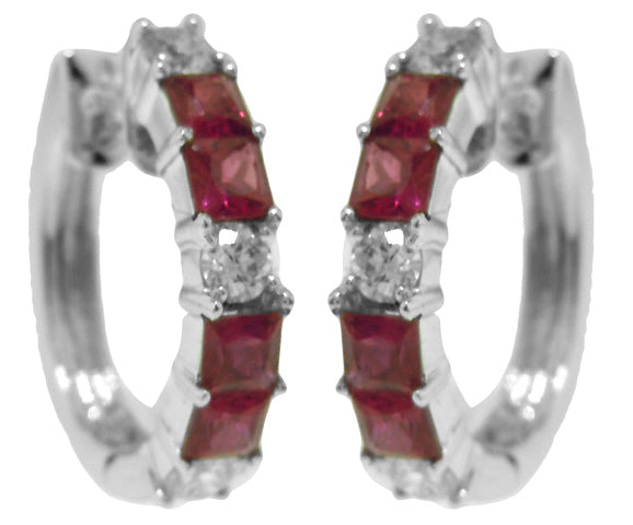 18KT WHITE GOLD RUBY AND DIAMOND HOOP EARRINGS