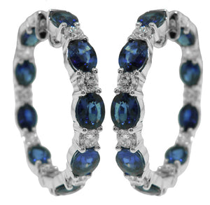 18KT WHITE GOLD SAPPHIRE AND DIAMOND HOOP EARRINGS