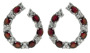 18KT WHITE GOLD RUBY AND DIAMOND EARRINGS