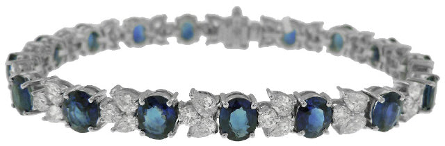 18KT WHITE GOLD OVAL SAPPHIRE, ROUND AND PEARSHAPE DIAMOND BRACELET