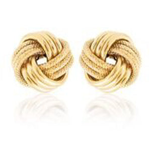 14KT YELLOW GOLD LOVE KNOT STUD EARRINGS.