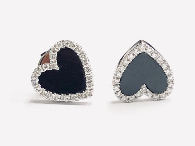 14KT WHITE GOLD HEART BLACK ONYX AND DIAMOND EARRINGS.