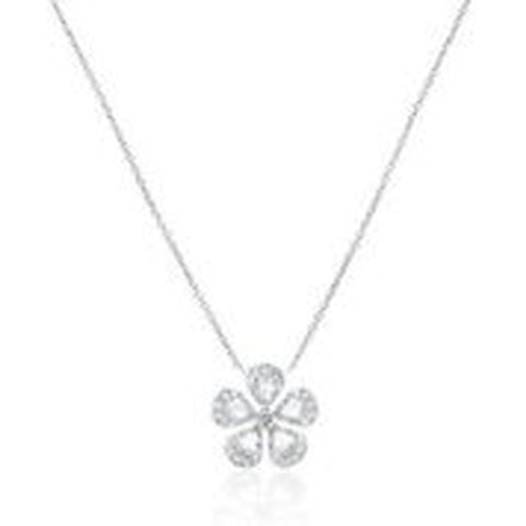 18KT WHITE GOLD ROSE CUT AND ROUND DIAMOND FLOWER PENDANT WITH CHAIN