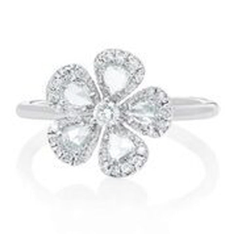 18KT WHITE GOLD ROSE CUT AND ROUND DIAMOND FLOWER RING.
