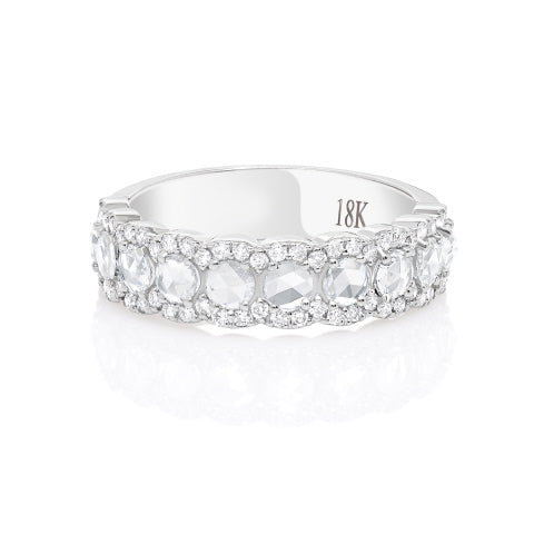 18KT WHITE GOLD ROSE CUT AND ROUND DIAMOND BAND.