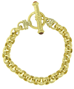 14KT YELLOW GOLD LINK BRACELET WITH CARNELIAN TOGGLE CLASP