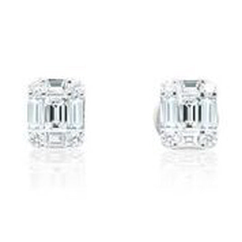 18KT WHITE GOLD ROUND AND BAGUETTE DIAMOND EARRINGS.