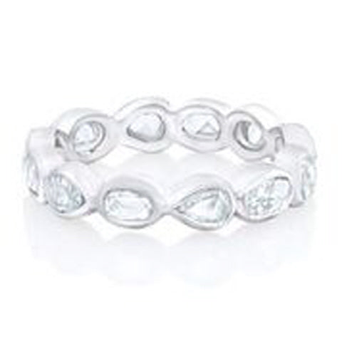 18KT WHITE GOLD MIXED SHAPE ROSE CUT DIAMOND BEZEL SET ETERNITY BAND.