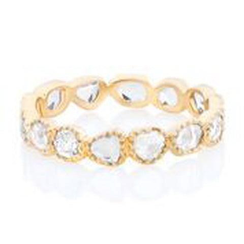 18KT YELLOW GOLD MIXED SHAPE ROSE CUT DIAMOND BEZEL SET ETERNITY BAND WITH BEADED EDGE.