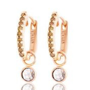 18KT ROSE GOLD BURNT ORANGE DIAMOND HOOP EARRINGS WITH HANGING ROSE CUT DIAMOND CHARM.