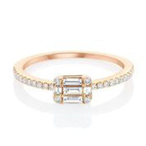 14KT ROSE GOLD ROUND AND BAGUETTE DIAMOND RING.