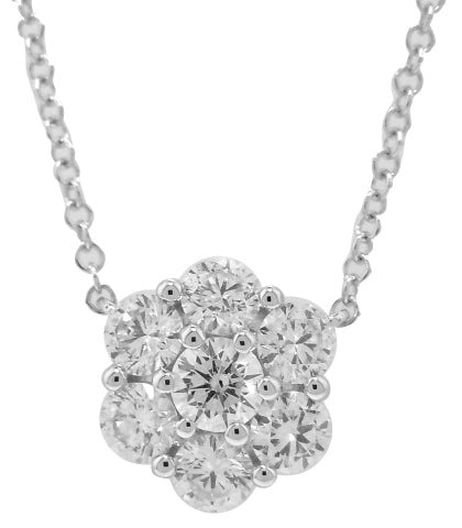 18KT WHITE GOLD DIAMOND FLOWER PENDANT WITH CHAIN.