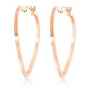 14KT ROSE GOLD HEART HOOP EARRINGS
