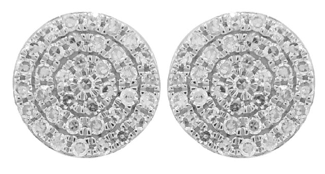 14KT WHITE GOLD PAVE DIAMOND DISC EARRINGS.