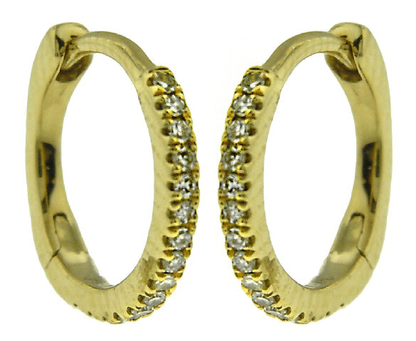14KT YELLOW GOLD DIAMOND HOOP EARRINGS.